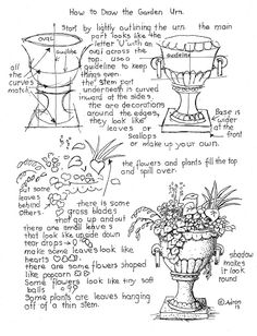How to Draw Worksheets for The Young Artist: How To Draw The Garden Urn With Flower Worksheet