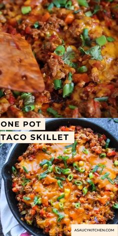 Super simple one pot Taco Skillet packed with veggies, protein, and loads of spice | A perfect, low carb weeknight dinner! Gluten Free + Whole30 & Paleo options – just skip the cheese! Electric Skillet Recipes, Iron Skillet Recipes, Cast Iron Recipes, Chicken Cast Iron Skillet, Healthy One Pot Meals, Healthy Dinner Recipes, Easy Skillet Meals, Easy Meals, Gluten Free Recipes Videos