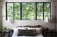 love this window!!! - love the mixture of large and small panes!! Would be so sad to cover that up with anything!