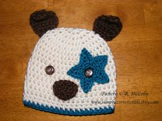 $2.99 Hound Dog Hat Pattern - Crochet Pattern Number 19 - Beanie and Earflap Pattern - Newborn to Adult - CROCHET HAT PATTERN