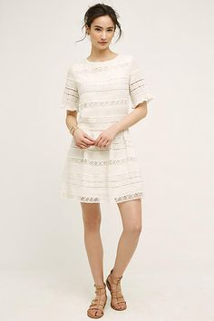Dropwaist silhouette with lace detail. Designed by KAS New York for Anthropologie. #kasnewyork #anthropologie #whitedress #lace #bohemian