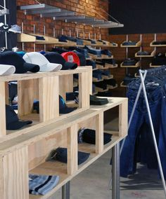 Practical and cost effective clothing racks/display shelving for clothing retail store Brandz.co.za