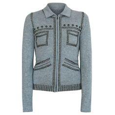 LUCIEN PELLAT-FINET gray brass stud skullcashmere sweater studded cardigan S NEW #LucienPellatFinet #Studded #Cashmere #Sweater