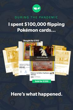 With a naive sense of confidence, I spent six figures buying and selling Pokémon cards during the pandemic-fueled TCG boom. Here's how I fared (and a few lessons I learned) during my trip down nostalgia lane. Make Money Fast, Make Money From Home, Make Money Online, Money Tips, Money Saving Tips, Pokémon Cards, Flip Cards, Successful Online Businesses