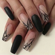 Nude Ombre with Black Nail Art on Coffin Nails. The best example of simplicity is the ultimate trend is seen in the picture above, where black and nude ombre nail art is done well.
