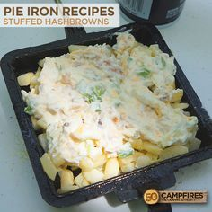 Delicious and easy camping meal. Stuffed Hashbrowns. http://50campfires.com/pie-iron-stuffed-hashbrowns/ #camping #recipes #pieiron