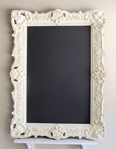 CHALKBOARD Wedding Menu Sign MAGNETIC French Country Vintage Distressed Decor Old World Chalk Board Framed Antique Wedding Decoration Ornate. $319, via Etsy.