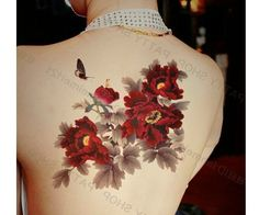 Peony flower tattoo sticker Waterproof Sexy large tatoo for back chest arm leg temporary tattoos tatoos women for party photo-in Temporary Tattoos from Health & Beauty on Aliexpress.com | Alibaba Group