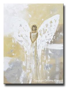 """""""Peaceful Angel"""" - ORIGINAL art, abstract, angel painting depicting a stunning guardian angel gently guiding and providing strength, love, hope, and comfort. This hand-painted, palette knife, contemporary, spiritual piece possesses not only a comforting sense of peace and calm, but with its' soothing shades of contemporary warm colors & textured layers of paint, it also contains a contemporary, stylish, classic feel, perfect for any home decor. Created with a soft, neutral palette of pale…"""