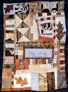 Quilted Art  Collage Leaf  Pray Continually  Wall by juliebagamary, $320.00