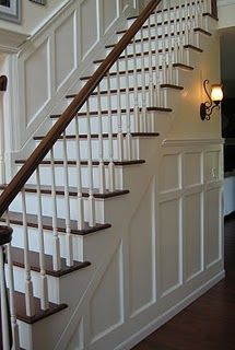 How the stairs will look with railing instead of solid wall:  (wainscoting)