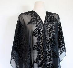 Vintage Sheer Black Shawl with Velvet Baroque Devoré Print // Edwardian Style