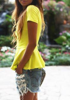 #Neon #Yellow #Peplum #Shirt #shorts #Outfit