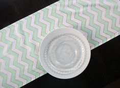 Mint Green, Metallic Gold & White Chevron Table Runner, Modern Runner for Parties, Showers, Weddings Fabric Ribbon, Ribbon Bows, Chevron Table Runners, Free Fabric Samples, Zig Zag Pattern, Mint Green, Color Pop, Great Gifts, Lily