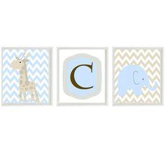 Elephant Giraffe Chevron Nursery Wall Art Print - Blue Tan Brown -Initial Children Baby Room - Wall Art Home Decor 3 - 8x10 Prints. $42.00, via Etsy.