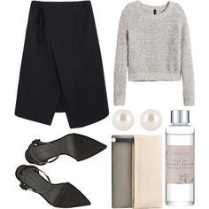 A fashion look from October 2014 featuring H&M sweaters, Y's by Yohji Yamamoto skirts and Alexander Wang pumps. Browse and shop related looks.