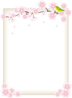 フリーイラスト 桜の花と鶯と飾り枠