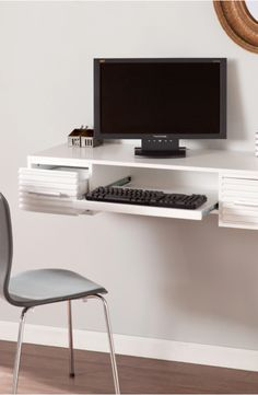 Save Space In Your Office Or Home With This White Wall Mount Desk.