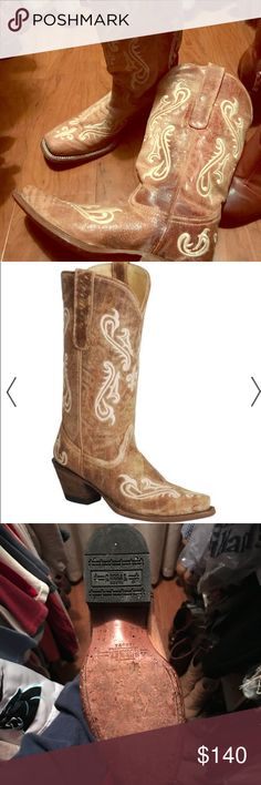 """Corral Cowgirl Boots corral boots are specially crafted to reflect the latest fashion trends. women wear corral boots because they offer beautiful, decorative cowgirl boot designs - and these boots are no exception! corral boots feature a distressed tan leather foot with fancy ivory embroidery under a matching 12"""" leather shaft. 2 1/2"""" cowgirl heel. supple leather lining. single stitched welt. snip toe profile and easy-on pull straps. Corral Cowgirl Boots Shoes Heeled Boots"""