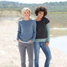 Rundhals-Pullover, jeans