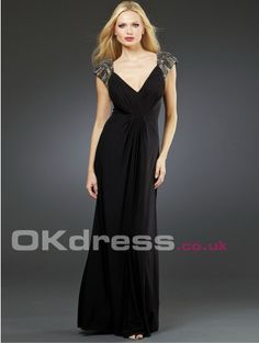 Sheath/Column Chiffon V-neck Short Sleeve Long Maxi Formal 2014 Evening Dresses - by OKDress UK