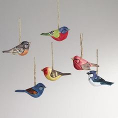 One of my favorite discoveries at WorldMarket.com: Wood Bird Ornaments, Set of 6