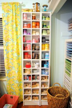 Ikea cd towers for easy to see ribbon storage. Craft Room Decor, Craft Room Design, Craft Room Storage, Craft Rooms, Scrapbook Organization, Craft Organization, Ribbon Organization, Space Crafts, Home Crafts