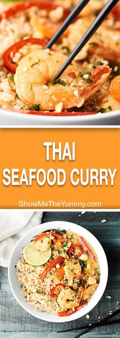 This Easy Thai Seafood Curry is a HEALTHY flavor explosion in your mouth! Full of mixed seafood, veggies, lite coconut milk, lime, green curry paste & more! Sea Food Salad Recipes, Fish Recipes, Seafood Recipes, Chicken Recipes, Cooking Recipes, Chicken Ideas, Recipe Chicken, Thai Recipes, Recipies