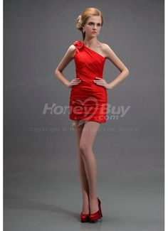 One Shoulder Pleated Red Mini Length Cocktail Dress
