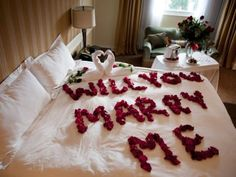 What kind of marriage proposal suits you best? You could write it with red rose petals on your bed. Magic is in simplicity!!!!