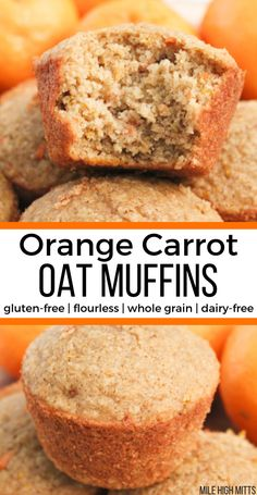 Orange Carrot Oat Muffins Gluten-Free Flourless Whole Grain Dairy-Free Low - orange möhren hafer muffins glutenfrei mehlfrei vollkorn milchfrei niedrig Orange Carrot Oat Muffins Gluten-Free Flourless Whole Grain Dairy-Free Low - Dairy Free Bread, Dairy Free Muffins, Dairy Free Snacks, Dairy Free Breakfasts, Dairy Free Diet, Gluten Free Baking, Gluten Free Desserts, Healthy Baking, Low Sugar Snacks
