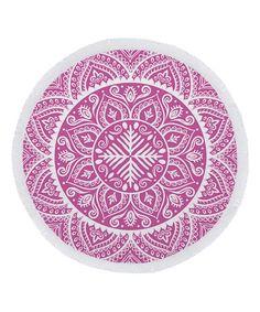 Pink Mandala Round Beach Towel