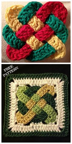 Crochet Granny Square Pattern Free Celtic Knots 62 Ideas For 2020 Crochet Potholder Patterns, Irish Crochet Patterns, Crochet Afghans, Crochet Squares, Crochet Motif, Crochet Designs, Knitting Patterns, Free Crochet, Crochet Granny