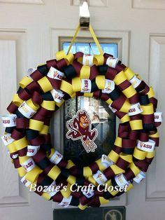 Show your Devils pride! Arizona State University wreath, ASU decor, Go Devils, ASU, Arizona State, Arizona wreath, Sparky Decor, Fork'Em