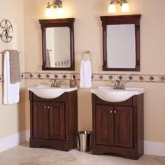 Glacier Bay Valencia 25 in. Vanity in Glazed Hazelnut with Porcelain Vanity Top in White and Wall Mirror-VA25EUP3COM-HG at The Home Depot