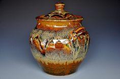 Burnt Umber Lidded Ceramic Pottery Jar  A by darshanpottery