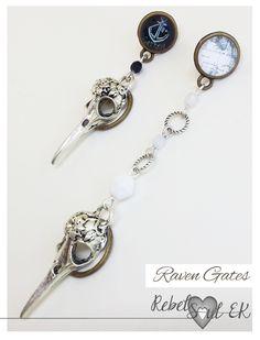 Asymmetric earrings, Raven Skull Earrings, black and white, Bird Skull Earrings, gothic jewelry, Anchor map, crown earrings, pirate earrings