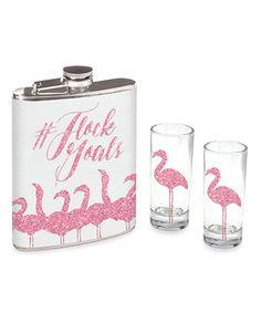 Look at this #zulilyfind! Pink '#Flock Goals' Flask & Shot Glass Set #zulilyfinds