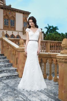 Style 3831 Lace Wedding Gown with cap sleeves from Sincerity Bridal