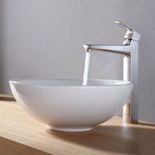 """View the Kraus C-KCV-141-15500 16"""" Ceramic Vessel Bathroom Sink With Vessel Faucet and Pop-Up Drain at FaucetDirect.com."""