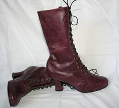 Bourgundy Victorian shoes Victorian High Heel by VictorianBoots