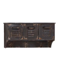 Rustic Metal Locker Wall Shelf