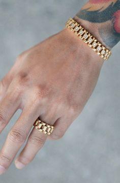 Mister Band Ring - Gold - Mister SFC - 2 Shop men's designer leather bracelets at Tiffany & Co. Gents Bracelet, Mens Diamond Bracelet, Mens Gold Bracelets, Link Bracelets, Gold Chains For Men, Gold Jewelry For Men, Man Jewelry, Silver Chain For Men, Viking Jewelry