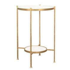 Round Two Tier Hammered Iron Table With White Carrara Marble Top In Gold  Leaf.