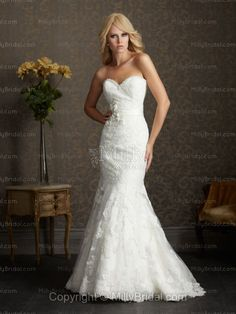 Trumpet/Mermaid Sweetheart Flower Satin Chapel Train Wedding Dress at Millybridal.com