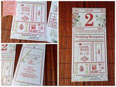 Traditional Chinese Calendar Inspired Wedding Invitation Card