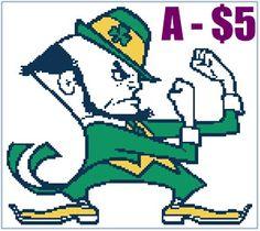 EASY PATTERNS: Notre Dame Fighting Irish cross-stitch pattern