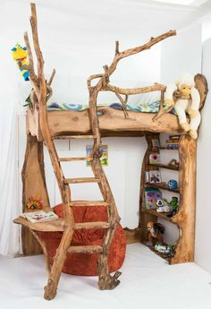 Rustic forest-inspired bunk bed | 10 Best Built-in Bunk Beds ~ Tinyme Blog