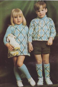 568 Adorable Patterned Sweater / Dress Outfit Knitting Pattern, Size 2, 3 or 4 Boy's and Girls, Argyle Knitting, Pdf Download, Vintage by LammDigital on Etsy