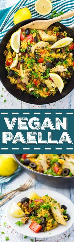 This vegan paella with artichokes, smoked tofu, and sun-dried tomatoes feels like a vacation to Spain! It's packed with flavor and it's perfect for summer! #vegan #paella #recipe